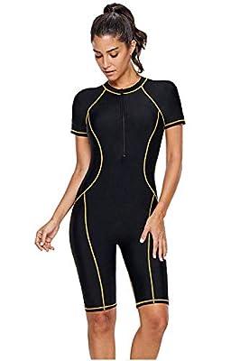 Women's One Piece Rash Guard Zip Front, Full Body Cover Wetsuit, Sun Protection Long Sleeve Dive Skin Surf Suit S-XXXL (M(US 8-10), Black Yellow)