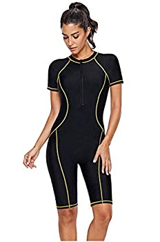Women s One Piece Rash Guard Zip Front Full Body Cover Wetsuit Sun Protection Long Sleeve Dive Skin Surf Suit S-XXXL  XXX-Large Black Yellow