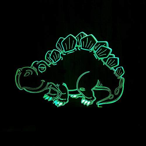 YANG1MN Dibujos animados dinosaurio LED lámpara gradiente colorido 3D estereoscópico táctil remoto USB noche luz escritorio imaginativamente decorado regalo de cumpleaños 20 * 13 cm