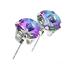 pewterhooter women's 925 Sterling silver stud earrings made with sparkling Starlight crystal from Swarovski. Sterling Silver setting, post and scrolls stamped 925 (suitable for pierced ears only). The earrings measure 6mm x 6mm. Gift box. Hypoallerge...