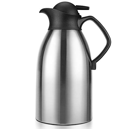 Thermal Carafe, ENLOY Stainless Steel Coffee Carafe Insulated Thermos for Keeping Hot 12 Hour Heat Retention, Double Walled Vacuum for Coffee, Hot Water, Tea, Beverage, 2L (68 Oz)