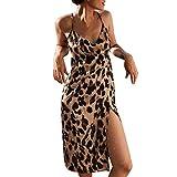Estampado de Leopardo Vestido de Espagueti para Mujer, Vestidos Midi Split Dividido Sexy Mujer de...