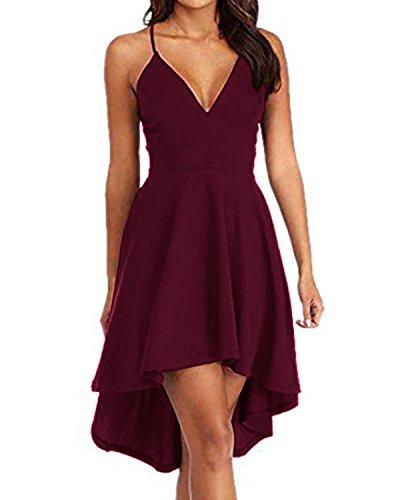 ACHIOOWA Mujer Vestido Cuello V Sin Manga Dress Sin Hombros Escote Falda Punto Plisado Cremallera Encaje Elegante Casual Playa Maxi Skirt Rojo-Vino 2XL
