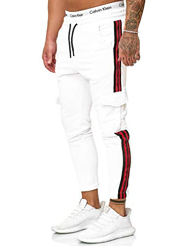 OneRedox Herren | Jogginghose | Trainingshose | Sport Fitness | Gym | Training | Slim Fit | Sweatpants Streifen | Jogging-Hose | Stripe Pants | Modell 1224 Weiss XL