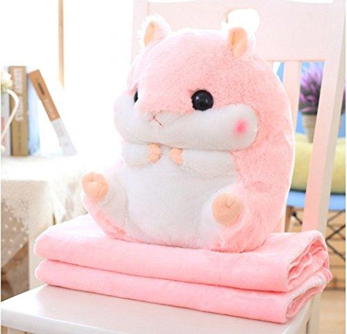 Coussin Mignonne de Hamster et Doux Couverture Chaude Peluche Coussins Animaux Couverture en Laine Polaire Plié (Rosa)