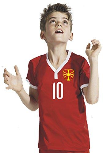 Aprom-Sports Mazedonien Kinder Trikot - Hose Stutzen inkl. Druck Wunschname + Nr. RRR WM 2018 (116)