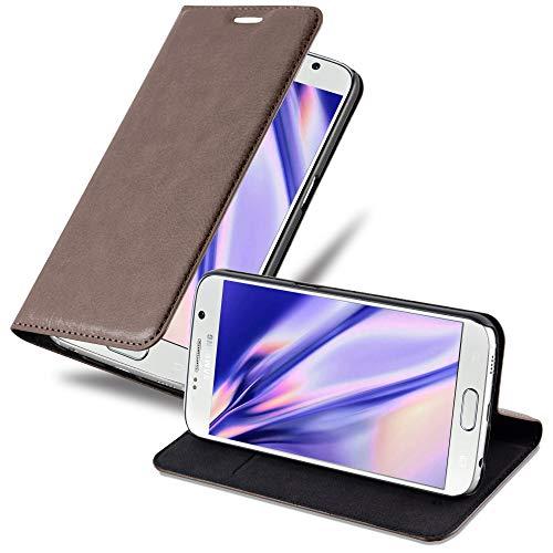 Cadorabo Hülle für Samsung Galaxy S6 - Hülle in Kaffee BRAUN – Handyhülle mit Magnetverschluss, Standfunktion & Kartenfach - Hülle Cover Schutzhülle Etui Tasche Book Klapp Style