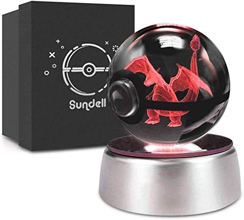 Raelf 3D geschnitzte Kristallkugel Kristall Elf Ball Pokémon Ball Pokemon Ball Weihnachten, Sundell einzigartige Geburtstagsgeschenke für Kinder, 3d Kristallkugel mit Verfärbungslampe Base, Kindergesc