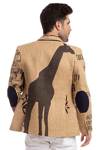 Herren Designer-Sakko aus afrikanischen Kaffeesäcken mit originalem Kaffeefarm-Print, Olivenholz-Knöpfen & Ellenbogen-Patches. Limited Edition Kollektion von THE COFFEE JACKET