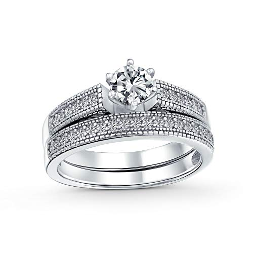 Bling Jewelry Ronda 1.5Ct Solitario 6 Prong Milgrain AAA CZ Compromiso Boda Allanar Band Juego De Anillo De Plata Esterlina 925 Mujer