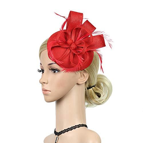 Sanwood 3Pcs / Set Femmes éLéGant Chapeau Fascinant Accessoires De Pince à Cheveux De Plume De MariéE rouge