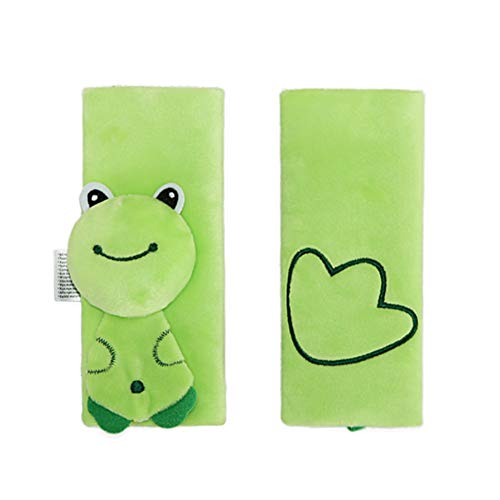 1 Pair Baby Car Seat and Stroller Strap Covers Cute Animal Pattern Car Seat Strap Covers for Infant & Baby Safety - Green Frog Style