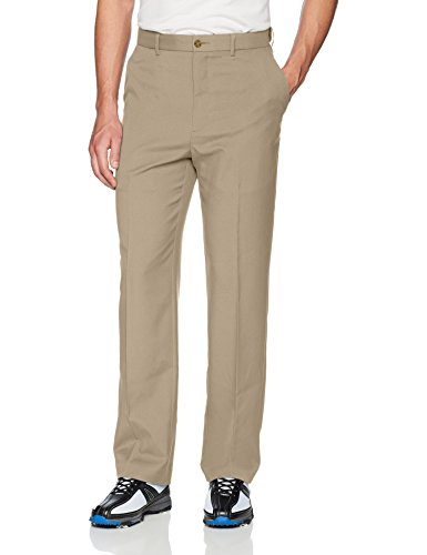 PGA TOUR Men's Flat Front Golf Pant with Expandable Waistband, Chinchilla, 33W x 32L