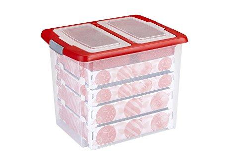 Sunware Q-Line Opbergdozen, stapelbare plastic doos met deksel en kliksluiting, met kartonnen dozen voor biljardballen snooker ballen, golftrainingsbal, kerstballen en accessoires