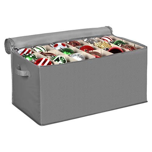Christmas Ornament Storage Container with Dividers -Box Stores Up to 54 - 4' Ornaments, Zippered, Convenient, Adjustable, Heavy Duty 600D, Large Organizer Bin to Protect and Store Holiday Décor (Grey)