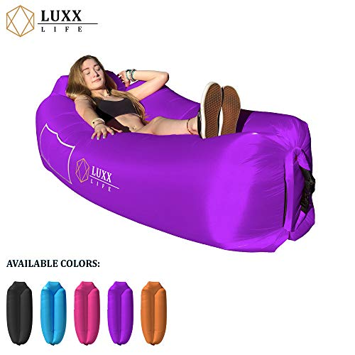LUXX LIFE - Inflatable Lounger Blow Up Couch Air Hammock - Camping, Hiking, Traveling, Park, Beach, Pool, Lakeside, Picnic, Festivals - Durable & Waterproof - Indoor/Outdoor Use, Pack of 1, Purple