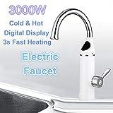 STHfficial Calentador De Agua De Cocina Eléctrica De 3000W Grifo Calentadores De Grifo De Agua Caliente Instantáneos Grifo De Calefacción Fría Baño Sin Tanque Instantáneo