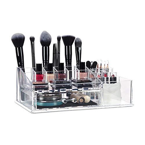 Relaxdays, transparent Make Up Organizer mit Schublade, Kosmetik Aufbewahrung für Schminke & Schmuck, Lippenstifthalter, Kunststoff, 15 Fächer