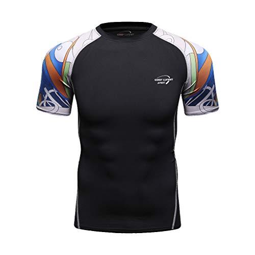 Qinhanjia Herren Sport Funktionsshirt Kompressionsshirt Laufshirts, Herren Yoga Fitness Sport Print T-Shirt Schnelltrocknendes, atmungsaktives Kurzarm-Oberteil