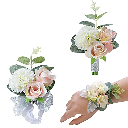 2 Stücke Boutonniere, Handgelenk Blume, Künstliche Ansteckblume, Hochzeit Boutonniere Blumen, Brautjungfer Handgelenk Blume, für Hochzeit, Tanz, Partydekoration