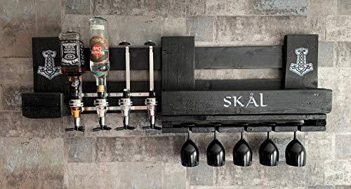 WIKINGER Wandbar SKÅL mit Schnapsspender und Flaschenhalter, Weinregal Wand Regal aus Holz schwarz, Thor Hammer Mjölnir Nordmann