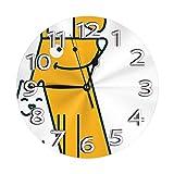 Gatos Perros Human Best Forever Reloj de Pared Relojes Decorativos Impermeables Reloj Ligero con números Romanos Manos Reloj de Pared Redondo