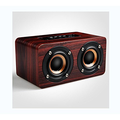 LIRONG draadloze Bluetooth luidspreker, Bluetooth 4.2 stereo luidspreker karaoke microfoons hout kaarten subwoofer computer luidspreker
