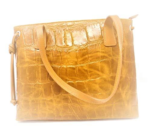 Luca Lorenzo Handtasche Ledertasche Damentasche Croco Leder braun Art. 1009715