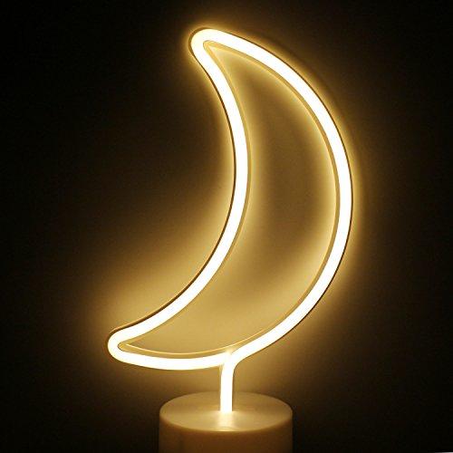 XIYUNTE Luna Señales luminosas neón Luz de noche, Blanco Luna luces de neón Lámparas Iluminación infantil Dormitorio Decoración, Bateria powered Luces de noche con pedestal Lámparas de escritorio