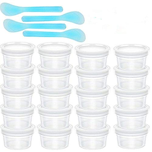 Z-Liant Slime Storage Containers, 20 Pack Floam Beads Containers of Slime & 4 Pcs Slime Mixing Spoons for Slime Beads, Leakproof Clear Plastic Storage Slime with Lids
