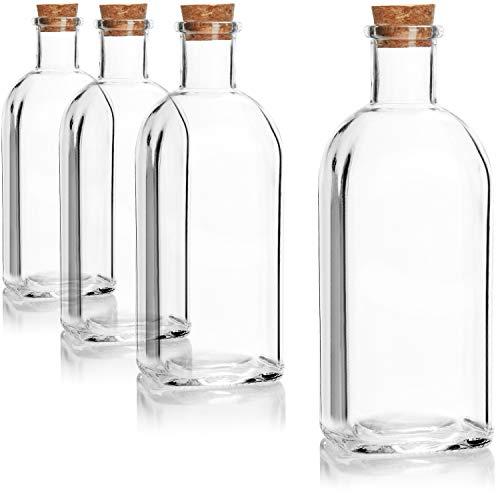 COM-FOUR® 4x Glasflasche 500 ml mit Korken - Leere Flasche aus Glas mit Korkverschluss - Glasbehälter zum Befüllen mit Flüssigkeiten, Öl, Essig, Schnaps