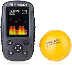 Venterior Portable Rechargeable Fish Finder Wireless Sonar Sensor Fishfinder Depth Locator with Fish Size, Water Temperature, Bottom Contour, Color LCD Display