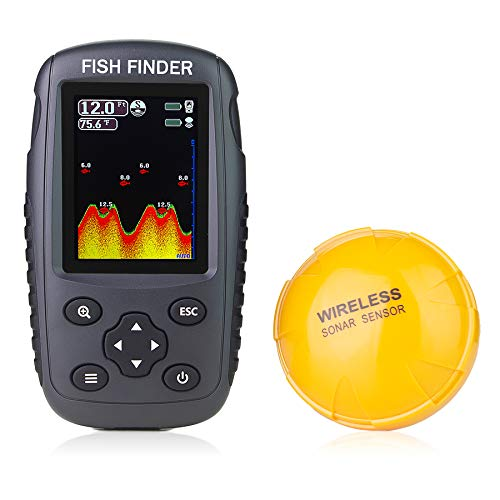 Venterior Portable Rechargeable Fish Finder Wireless Sonar Sensor Fishfinder Depth Locator with Fish...