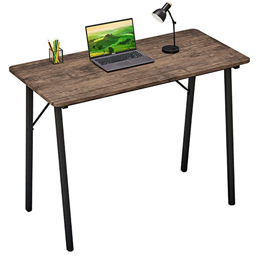 Office Computer Desk Modern Study Writing Table Small Kids Desk Home Wood Work Desk with Metal Legs Industrial Tiny Desk for Bedroom, 39.4 x 18.9 x 29.1 inch Walnut Brown