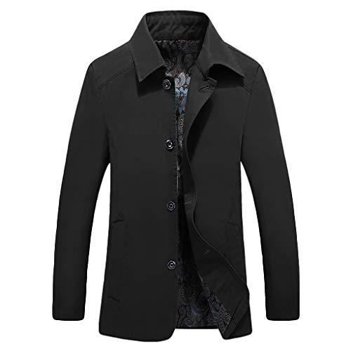 MAYOGO Herren warm Baumwolle Mäntel Jacke Männer Kurzmantel Winter Jacke Business Slim fit (Schwarz, XL)