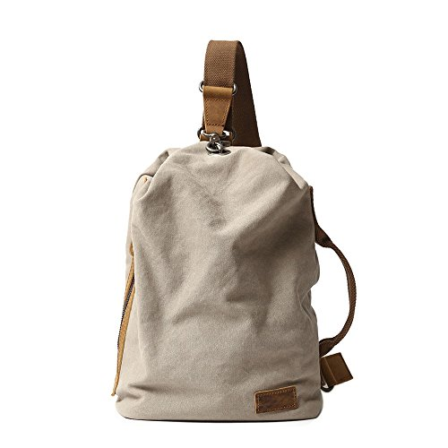 Neuleben Vintage Sling Rucksack Schulterrucksack Canvas Daypack Brusttasche Retro Schultertasche Klein Damen Herren für Reise Outdoor Sport Freizeit (Beige)