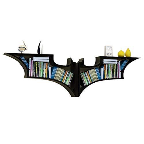 Bücherregale Rack Batman Stil Wohnzimmer wandbehang Regal kreative Regal dekorative Rahmen lagerung Regal (156 * 15 * 47 cm) (Color : Black, Size : 156 * 15 * 47cm)
