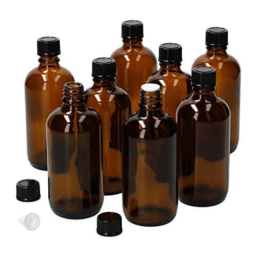 MamboCat 8tlg.-Set Miniaturflaschen mit Tropfer 100 ml I Tropfflasche aus Braunglas I Apothekerfläschen mit Tropfeinsatz I UV-geschützte Medikamenten-Aufbewahrung I Wiederverwendbar