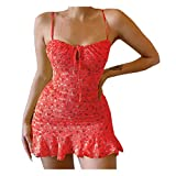 Sexy Floral Spaghetti Strap Backless Dress Bandage Cut Out Slim Fit Ruffle Mini Dresses Y2K Club Party Night Streetwear Red