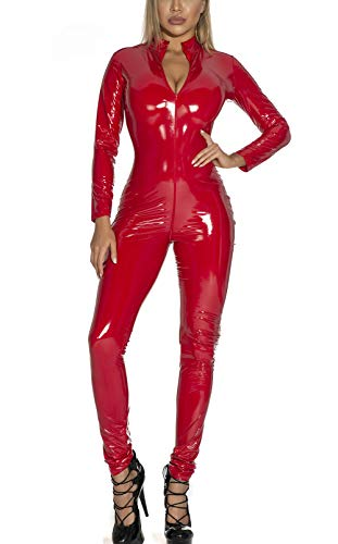 FEOYA Stripper Outfits Sexy Latex Catsuit Fancy Dress Wet Look Stretch Leather Black Catsuit Zip Crotch Halloween Costumes Red, S