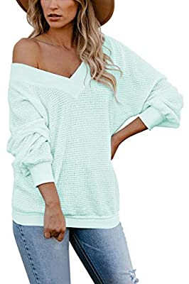 COCOLEGGINGS Women's Waffle Knit Top Off Shoulder Pullover Sweater Light Green S