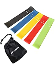 SKY-TOUCH Elete Exercise Resistance Bands   Set of 5 Resistance Loops- Extra Light To Extra Heavy Resistance   12 Inch Work Out Bands   Perfect for Gym, Fitness, Yoga