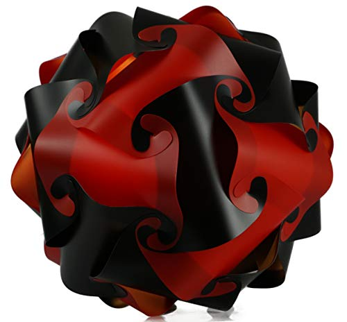 Puzzle Lampe xl 45cm Lampenschirm Steh- Designer- Deco Deckenleuchte (schwarz-rot)