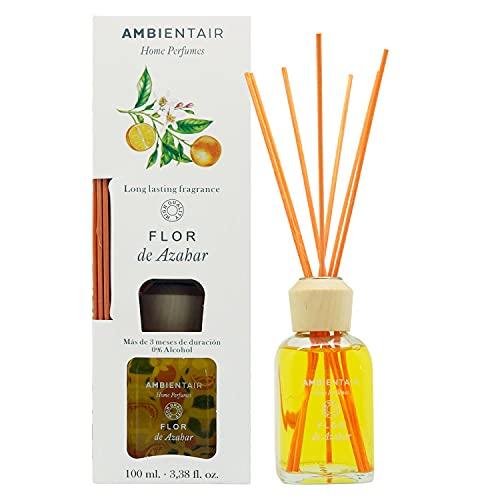 Ambientair Home Perfumes. Difusor de Varillas perfumadas Aroma Flor de Azahar. Ambientador Mikado Aroma Flor de Azahar. Difusor 100 ml con palitos de ratán. Ambientador sin Alcohol para casa.