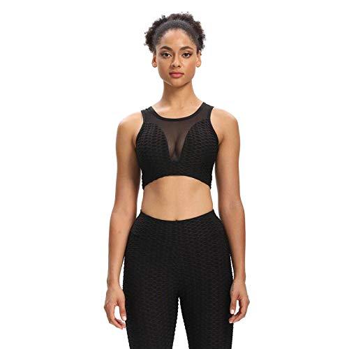The Wolfdragon Ropa deportiva para mujer, de fitness, chaleco y leggings, traje informal de 2 piezas, cintura media, gimnasio, yoga, correr, ropa de deporte Cs12-black L