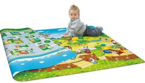 KAVID Waterproof Double Sided Baby Play Mat Child Activity Foam Floor Soft Kid Eductaional Toy Gift Gym Crawl Blanket Ocean Zoo Carpet_120 x 180 cm