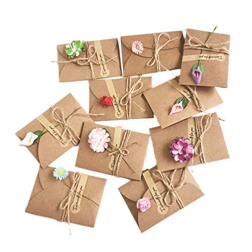 VALICLUD 10 Stück DIY Getrocknete Danke Karte Geschenkkarte Einladungskarte Wunschkarte für Familie Freunde Mutter Lehrer