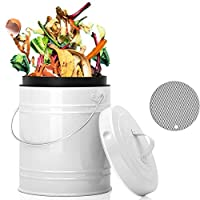 LALASTAR キッチンカウンター用コンポスト容器 小型メタルコンポスト容器 屋内キッチン密封蓋付き 食品廃棄物用 カウンタートップコンポストコンテナ ホワイト 1ガロン