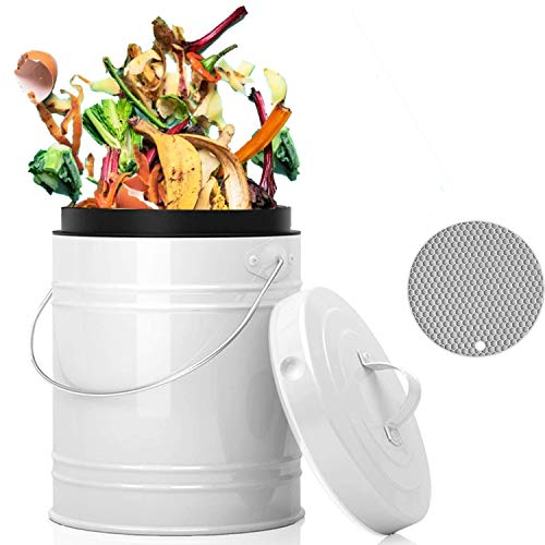 Compost Bin for Kitchen Counter, LALASTAR Small Metal Compost Bin Indoor Kitchen Sealed with Lid for Food Waste, Countertop Composter Container, White, 1 Gallon