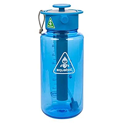 Lunatec Aquabot sport water bottle - a pressurized mister, camp shower and hydration in one. Portable running water for your pocket. BPA free. Blue 1.0 liter